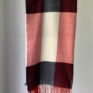 Red, White and Blue Plaid Scarf